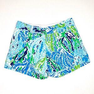 Lilly Pulitzer Callahan Shorts Green Coral Print